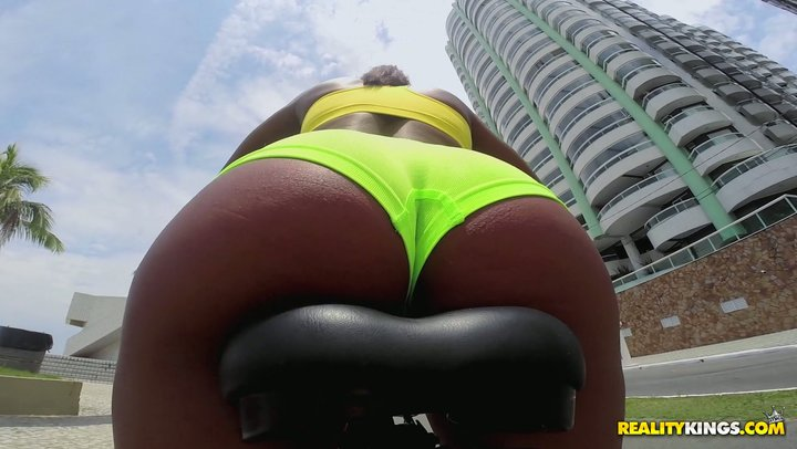 Brazilian diva Giuliana Leme goes for a bike ride prior to going butt-centric