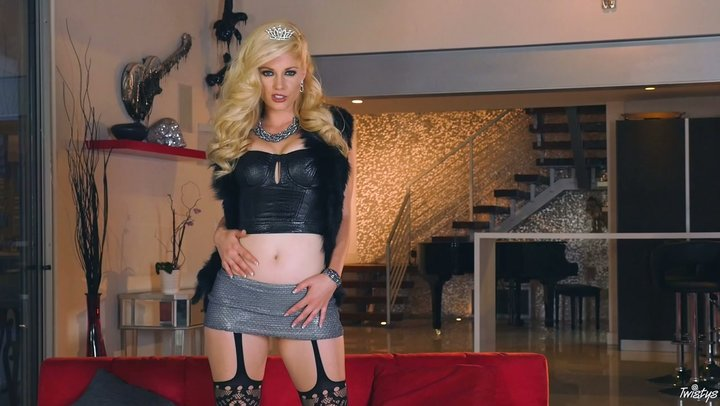 Tasteful blonde dream boat Charlotte Stokely stripteases and strokes off for the cam