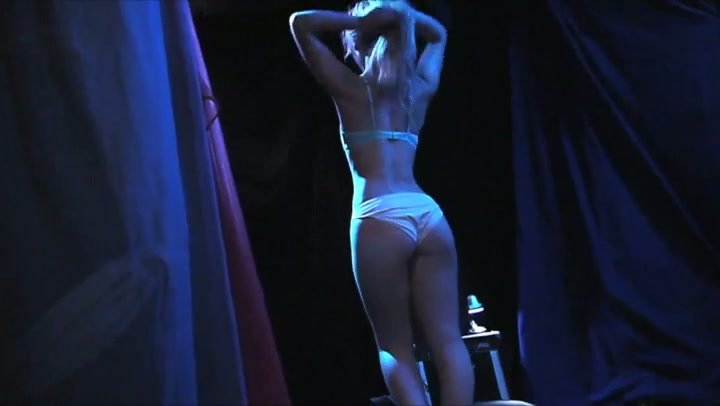 Creative suggestive dance and extravagant handjob by sweet European blondie