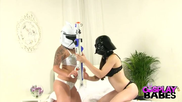 Foot fixation with mega stunning stormtrooper and provocative Darth Vader