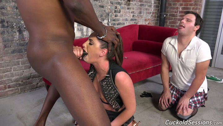 Obnoxious prostitute spouse Hope Howell embarrasses her cuckold with dark sweetheart