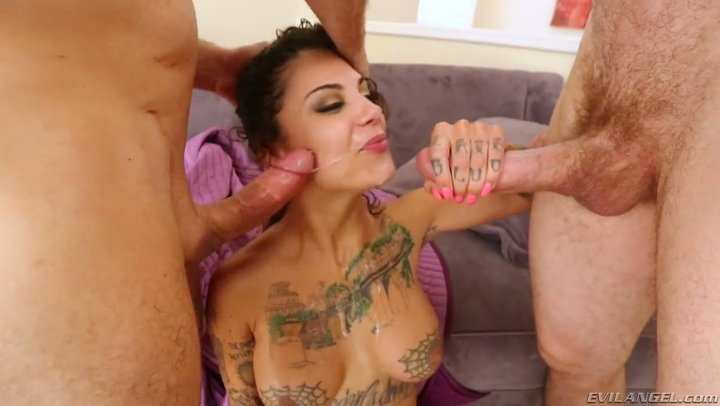 Oral bang, bukkake and spurting with free cultivator Bonnie Rotten