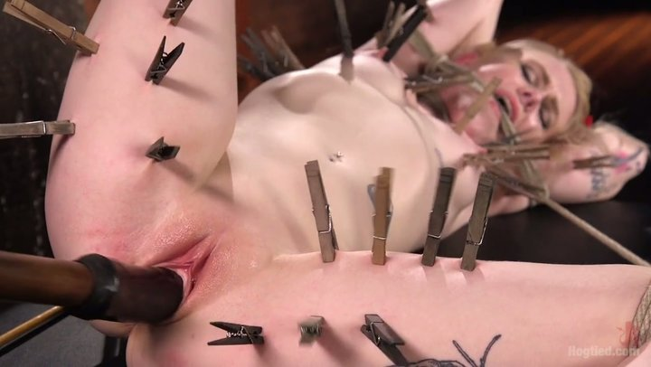 Adorable and agreeable blondie Anna Tyler in orgasmic BDSM activity