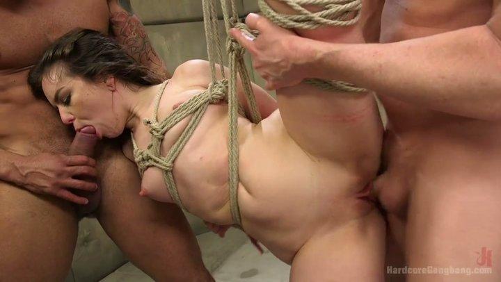 BDSM style banging of slutty brunette Juliette March in unpleasant storm cellar